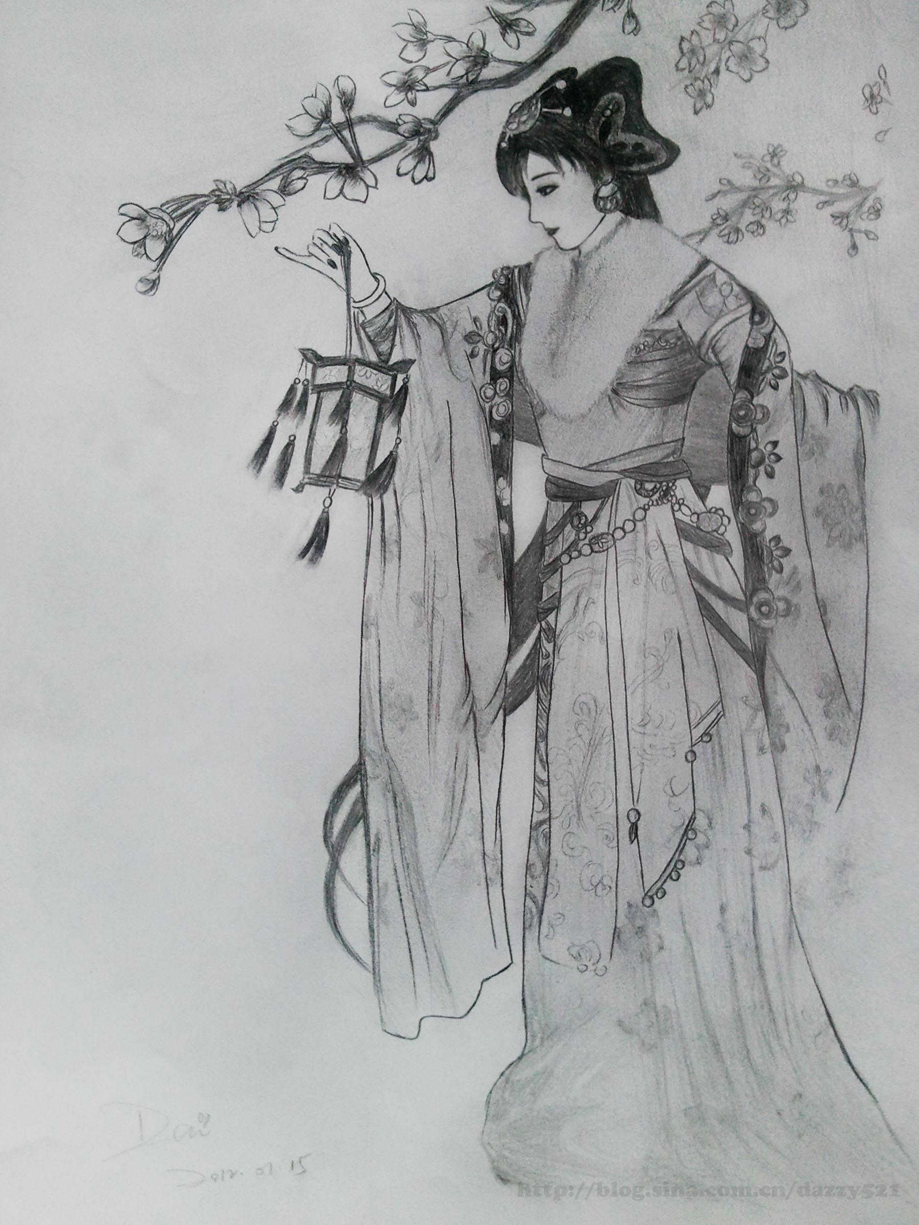铅笔画古装美女侧面