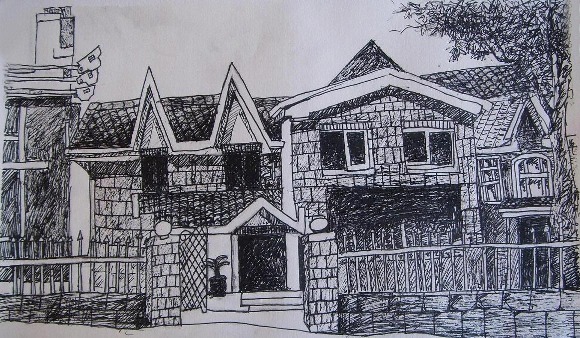 房子铅笔画 壁纸