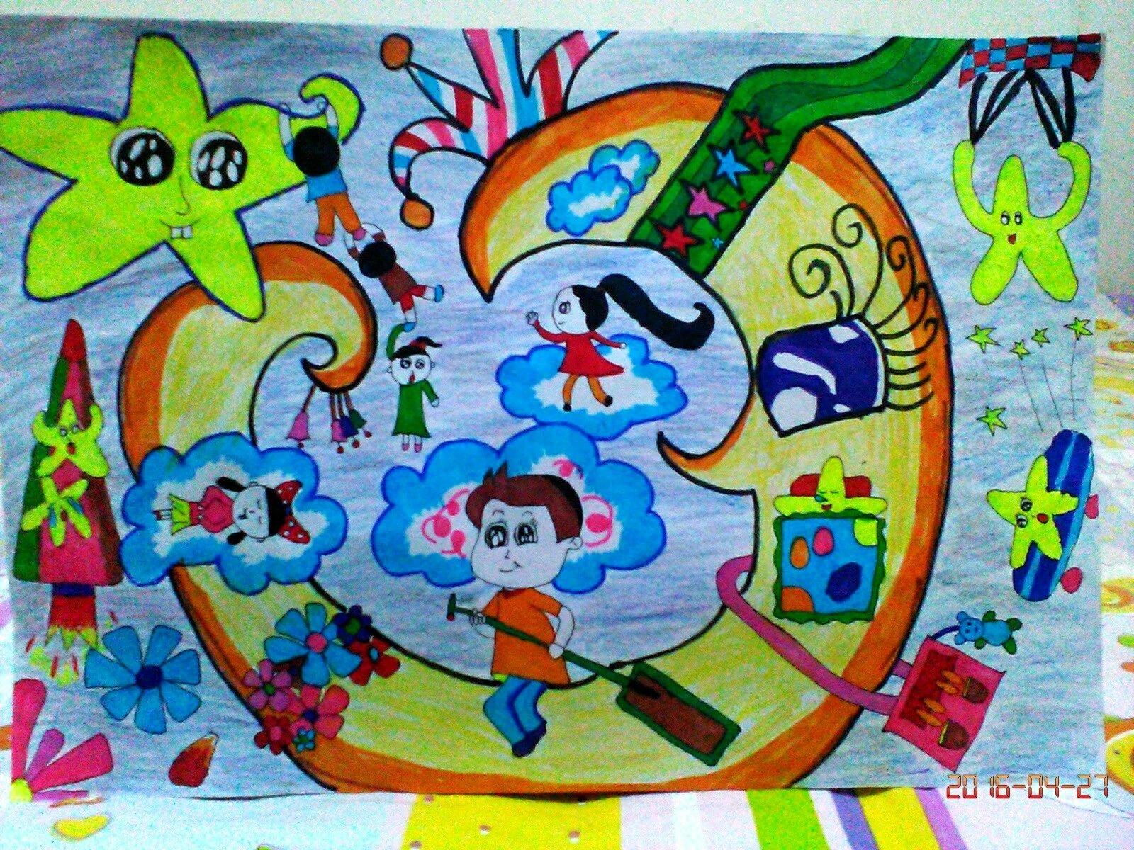 月亮手绘儿童画