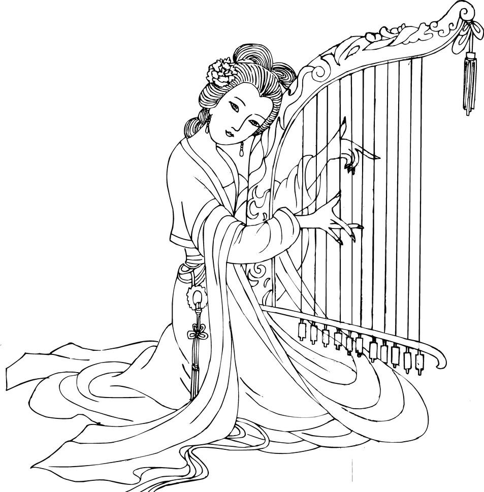 白描图片人物古代美女