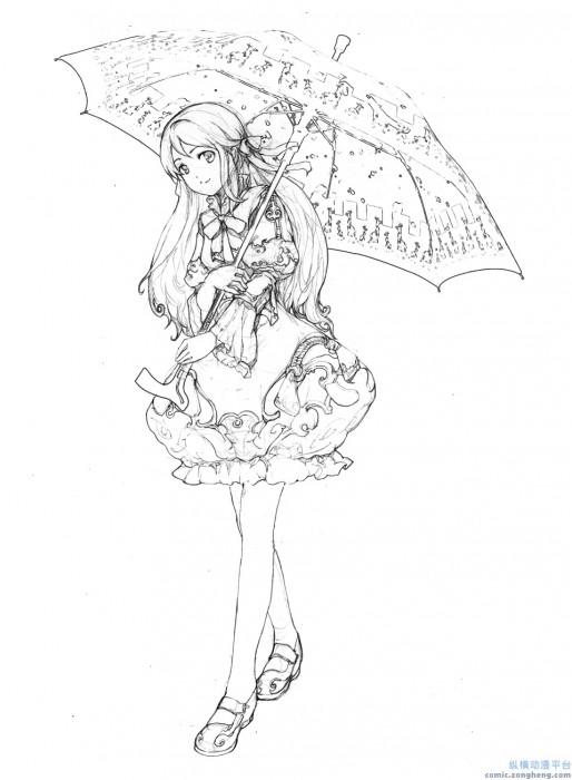 手绘学生打伞背包素描