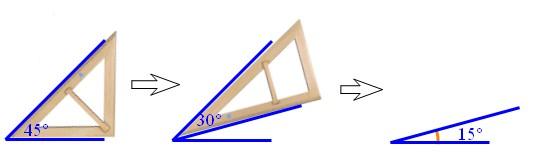 用三角尺画一个15°的角.下面的画法对吗?