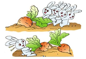 小兔子拔萝卜,数一数萝卜的数量,下面列式正确的是