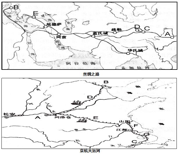 阅读下列材料,回答问题:材料一:丝绸之路和京杭大运河